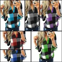 Loose Casual T-Shirt Shirt Jumper Long Sleeve Blouse Womens Pullover Tops V Neck