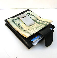 BLACK LEATHER MONEY CLIP THIN Credit ID Wallet Pocket Expandable Holder NWT