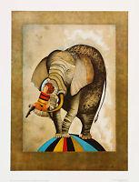 Elephant fine art lithograph by artist Boulanger