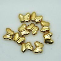 13mm Butterfly Beads Metalized Large Hole Bright Gold Finish pk/10