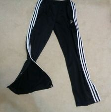 "ADIDAS black athletic pants FULL SNAP CLOSURE size M 28"" waist 29"" inseam"