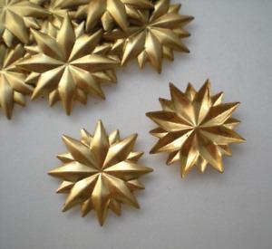 "12 brass ""NO-HOLE"" mirror rosettes #24"
