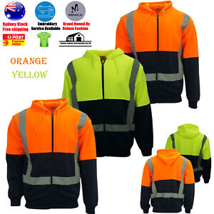 Hi-Vis Reflect Tape Safety Work Wear Warm Workwear Hoodie Jumper Jacket Men's