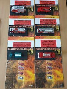 6 Feuerwehrfahrzeuge mit Prospekt, Modellautos, del Prado