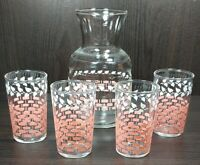 Vintage Federal Glass Pink Lattice Basket-weave White Ivy with Matching Pitcher