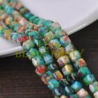 New 30pcs 8mm Cube Square Faceted Glass Loose Spacer Colorful Beads Ink Green