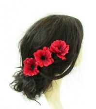 Set of 3 x Poppy Flower Hair Pins Clip Bridesmaid Fascinator Red Black 7543