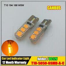 2x T10 W5W Canbus No Error 5050 Led Car Light Bulb Lamp Super Amber Yellow 12V