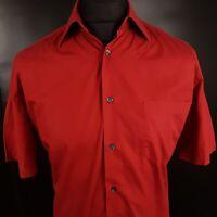 HUGO BOSS Mens Shirt LARGE Short Sleeve Red Regular Fit No Pattern Cotton