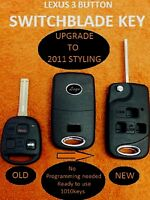 (BLADE CUT INC) KEY LESS ENTRY FLIP REMOTE SHELL FOB KEY-REPAIR w/ BAT for LEXUS