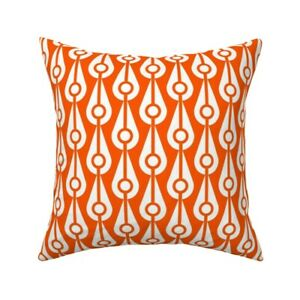 White Bright Orange Circles Throw Pillow Cover w Optional Insert by Spoonflower