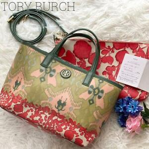 [With purchase certificate and pouch] Tory Burch 2way Kerrington floral pattern