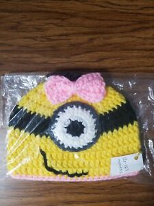 Handmade Knitted Minion Beanie Hat, Baby Girls With Bow, 6-12 Month Size