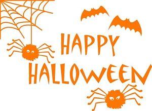 Happy Halloween Spiders and Bats Spooky wall/window/door Sticker