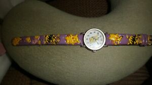 POKEMON ( trainer ) wrist watch silver tone  with leather strap