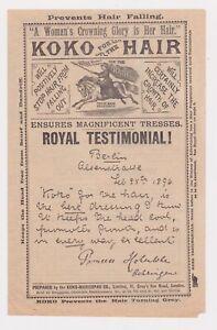 VINTAGE KOKO HAIR ADVERTISEMENT TESTIMONIAL, KOKO-MARICOPAS CO., LONDON, 1896