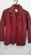 TRIBECA STUDIO 100% LEATHER Button Up Coat Jacket Coat Women's Size Medium Red
