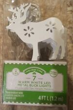 White Metal BUCK Deer Lights Battery Operated 7 WARM WHITE LEDs Holiday Time