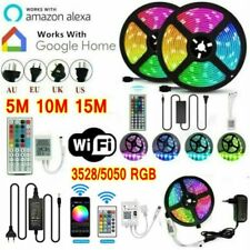 5/10/15M Smart WIFI LED Strip Light 5050 3528 SMD RGB Controller 12V Power Kits