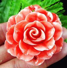 Beautiful salmon Giant clam carved flower Pendant bead BA3486
