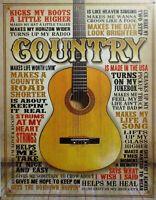 PLAQUE métal vintage USA COUNTRY guitare - 40 X 30 CM