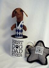 Felt Dachshund Red Brown in Coffee Mug Dog Dad Father's Day Gift with Dog toy