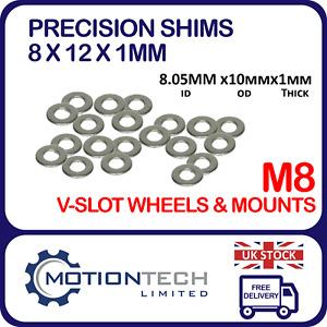 M8 Precision Shim 8x12x1mm for  V-Slot Solid V Wheel 3D printer CNC Machine Lot
