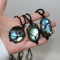 Wrap Women Mens Crystal Moonstone Labradorite Pendant Natural Stone Necklace