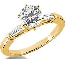 14k Yellow White Gold 1.25 Ct Baguette Diamond Ring