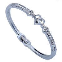 Elegant Women Crystal Charm Jewelry Hot Heart Bangle Silver Plated Bracelet Gift