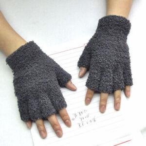 Half-fingers Gloves 1 Pairs Coral Fleece Fingerless Gloves Men Women Hand Warmer