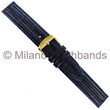 18mm Hirsch Professional Navy Genuine Leather Double Padded Stitched Watch Band
