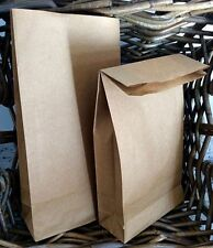 10 Brown Kraft Block Bottom Paper Bags Party Gift Favour Lunch Deli Cafe Vintage