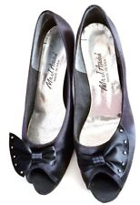 Vintage Look Black Satin Pumps with Bow by Mr J Andre #53733 Size-10m