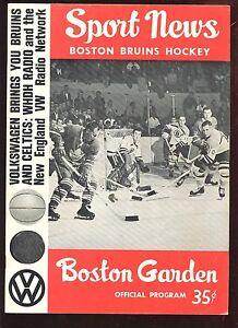 1963/1964 NHL Program New York Rangers at Boston Bruins EX