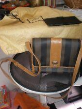 Vintage RARE FENDI Striped Canvas Leather CrossBody Bag Pequin Purse & A WALLET