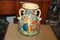 Mexico Majolica Pottery Vase Double Handle Chicken Rooster Signed Colorful Vase