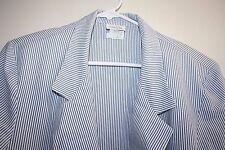 Boston Traveler Womens Jacket size 14 Blazer Blue & White Striped Coat  --HGG
