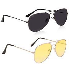 Magjons Full Black And Yellow Aviator Sunglasses Combo For Men & Women