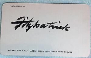vintage DANIEL R FITZPATRICK Hand Signed Autographed 3 X 5  W/COA  cartoonist