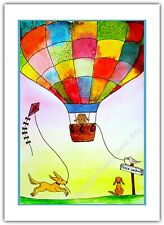Dogs on Holiday -Watercolour Print Greeting Card - Birthday / Notelet / Blank
