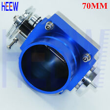 "BLUE High Flow Aluminum Intake Manifold 70MM 2.75"" Throttle Body Universal 1PCS"