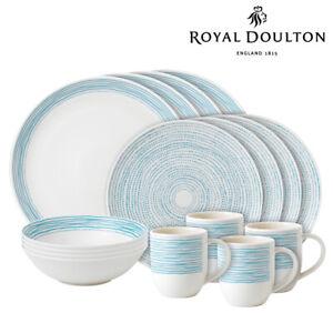 New Royal Doulton ED Ellen DeGeneres 16pc Polar Blue Dots Dinner   Set of 16