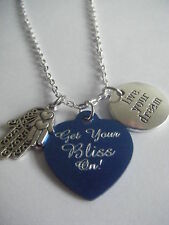 Spiritual Inspirational Get Your BLISS On!/Live Your BLISS YOGA/ZEN Necklace