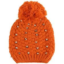 Winter Cute Metal Studded Stretchy Knit Pom Pom Beanie Skull Ski Snow Hat Rust