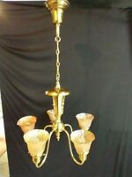 Art Deco Brass Chandelier Marigold Shades Ceiling Fixture 5 Five Arm