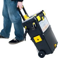 Rolling Tool Box Portable Storage Chest Cart Wheels Tools Organizer Two Trays
