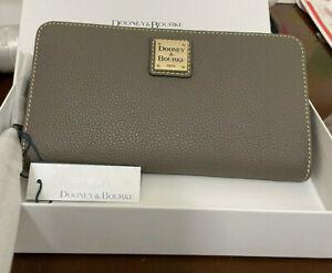 Dooney & Bourke Leather Belvedere Large Zip Around Wristlet Wallet Taupe NWT