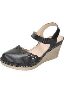Manitu Sandalen Leder Damenschuhe mit Keilabsatz schwarz 35-42 910778-1 Neu29