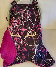 Infant Car Seat Canopy Cover Muddy Girl Camo Baby Purple Minky Lining Embroidery